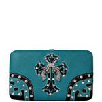 TURQUOISE RHINESTONE PISTOL LOOK WESTERN THICK FLAT  WALLET FW2-0468TRQ