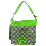 GREEN STUDDED SQUARE LASER CUT LOOK SHOULDER HANDBAG HB1-3475GRN