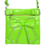 GREEN RHINESTONE BOW LOOK PATENT  MESSENGER BAG MB1-d6016GRN