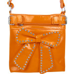 ORANGE RHINESTONE BOW LOOK PATENT  MESSENGER BAG MB1-d6016ORG