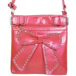 HOT PINK RHINESTONE BOW LOOK PATENT  MESSENGER BAG MB1-d6016HPK