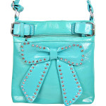 TURQUOISE RHINESTONE BOW LOOK PATENT  MESSENGER BAG MB1-d6016TRQ