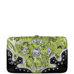 GREEN METALLIC SNAKESKIN RHINESTONE CROSS LOOK FLAT THICK WALLET FW2-0427GRN