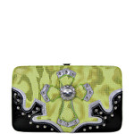 GREEN NET DESIGN RHINESTONE CROSS LOOK FLAT THICK WALLET FW2-0440GRN