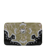 TAN METALLIC LEOPARD NET RHINESTONE CROSS LOOK FLAT THICK WALLET FW2-0428TAN