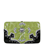 GREEN METALLIC LEOPARD NET RHINESTONE CROSS LOOK FLAT THICK WALLET FW2-0428GRN