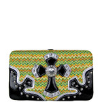 GREEN CHEVRON RHINESTONE CROSS LOOK FLAT THICK WALLET FW2-0444GRN