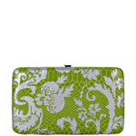 GREEN METALLIC FLORAL PRINT SNAKESKIN LOOK FLAT THICK WALLET FW2-0308GRN