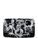 BLACK METALLIC FORAL PRINT SNAKESKIN RHINESTRONE CROSS LOOK FLAT THICK WALLET FW2-0420BLK