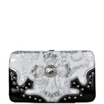 WHITE METALLIC FORAL PRINT SNAKESKIN RHINESTRONE CROSS LOOK FLAT THICK WALLET FW2-0420WHT