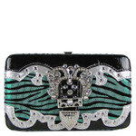 GREEN ZEBRA RHINESTONE BUCKLE LOOK FLAT THICK WALLET FW2-1207GRN