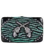 GREEN ZEBRA LOOK PISTOL FLAT THICK WALLET FW2-1214GRN