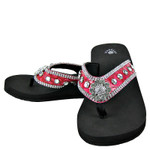 HOT PINK CROC RHINESTONE FLOWER FASHION FLIP FLOP FF1-S002HPK