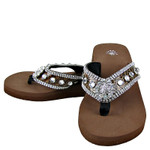 BROWN CROC RHINESTONE FLOWER FASHION FLIP FLOP FF1-S002BRN