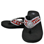 RED CROC RHINESTONE FLOWER FASHION FLIP FLOP FF1-S002RED