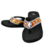 ORANGE CROC RHINESTONE CROSS FASHION FLIP FLOP FF1-S006ORG