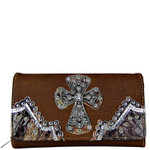 BROWN PATENT MOSSY CAMO TRIM RHINESTONE CROSS LOOK CHECKBOOK WALLET CB1-0486BRN