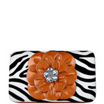 ORANGE ZEBRA RHINESTONE FLOWER LOOK FLAT THICK WALLET FW2-0753ORG
