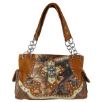 BROWN MOSSY CAMO STUDDED RHINESTONE CROSS LOOK SHOULDER HANDBAG HB1-HL12134BRN
