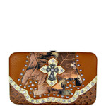 BROWN MOSSY CAMO RHINESTONE CROSS LOOK THICK FLAT WALLET FW2-0455BRN