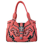 HOT PINK STUDDED RHINESTONE CROSS BUCKLE LOOK SHOULDER HANDBAG HB1-HL12107HPK