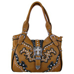 BROWN STUDDED RHINESTONE CROSS BUCKLE LOOK SHOULDER HANDBAG HB1-HL12107BRN