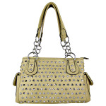 BEIGE RHINESTONE STUDDED LEATHERETTE LOOK SHOULDER HANDBAG HB1-HL121590BEI