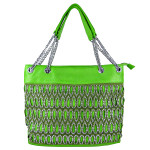 GREEN TEARDROP LASER CUT LOOK SHOULDER HANDBAG HB1-61043GRN