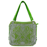 GREEN STUDDED DESIGN LOOK SHOULDER HANDBAG HB1-61272GRN