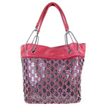 HOT PINK STUDDED METALLIC UNDERLAY DESIGN LOOK SHOULDER HANDBAG HB1-6142HPK