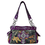 PURPLE RHINESTONE MOSSY CAMO LOOK CROSS SHOULDER HANDBAG HB1-C-321-2PPL