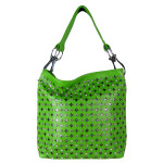 GREEN RHINESTONE METALLIC UNDERLAY LOOK SHOULDER HANDBAG HB1-8389GRN