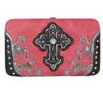 HOT PINK STUDDED CROSS WESTERN DESIGN LOOK FLAT THICK WALLET FW2-0458HPK