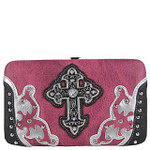 PURPLE STUDDED CROSS WESTERN DESIGN LOOK FLAT THICK WALLET FW2-0458PPL
