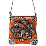 ORANGE RHINESTONE LEOPARD FLOWER DISTRESSED LOOK MESSENGER BAG MB1-2112ORG