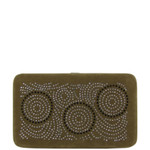 BROWN STUDDED CIRCLE RHINESTONE DESIGN LOOK FLAT THICK WALLET FW2-1290BRN
