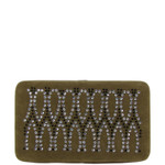 BROWN STUDDED RHINESTONE TEARDROP DESIGN LOOK FLAT THICK WALLET FW2-1282BRN