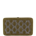 BROWN STUDDED RHINESTONE DIAMOND DESIGN LOOK FLAT THICK WALLET FW2-1280BRN
