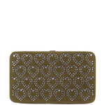 BROWN STUDDED RHINESTONE HEART DESIGN LOOK FLAT THICK WALLET FW2-1279BRN