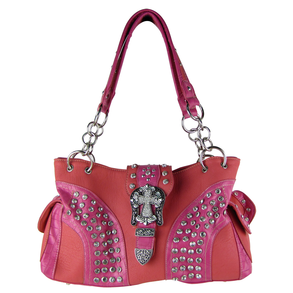hot pink studded rhinestone cross buckle shoulder handbag