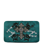 TURQUOISE RHINESTONE CROSS WESTERN ROSE STITCH FLAT THICK WALLET FW2-0469TRQ