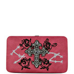 HOT PINK RHINESTONE CROSS WESTERN ROSE STITCH FLAT THICK WALLET FW2-0469HPK