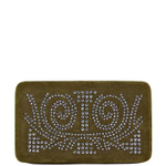 BROWN STUDDED RHINESTONE DESIGN LOOK FLAT THICK WALLET FW2-1285BRN