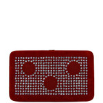RED STUDDED RHINESTONE CIRCLE DESIGN LOOK FLAT THICK WALLET FW2-1284RED