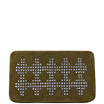 BROWN STUDDED RHINESTONE CHEVRON DESIGN LOOK FLAT THICK WALLET FW2-1286BRN