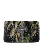 BLACK MOSSY CAMO CROSS LOOK FLAT THICK WALLET FW2-0481BLK