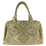 BEIGE RHINESTONE STUDDED LEATHERETTE LOOK SHOULDER HANDBAG HB1-HC0039BEI
