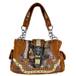 BROWN MOSSY CAMO STUDDED RHINESTONE BUCKLE CROSS LOOK SHOULDER HANDBAG HB1-HL12134-1BRN