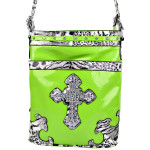 GREEN LEOPARD PRINT CROSS MESSENGER BAG MB1-YJ2011-3GRN