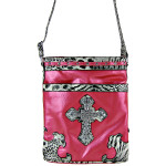 HOT PINK LEOPARD PRINT CROSS MESSENGER BAG MB1-YJ2011-3HPK